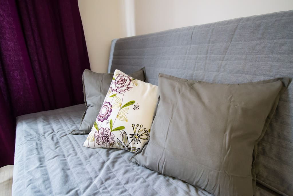 Foldable sofa for 2 persons in the 1st beroom, we will also provide you bed linen and toweks