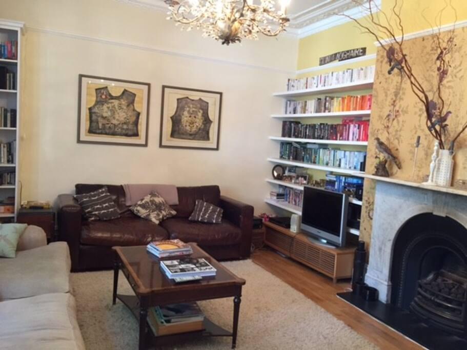 Books, TV, 2 large sofas