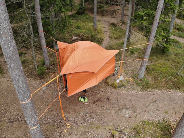 Adventures suspended tree house tent!
