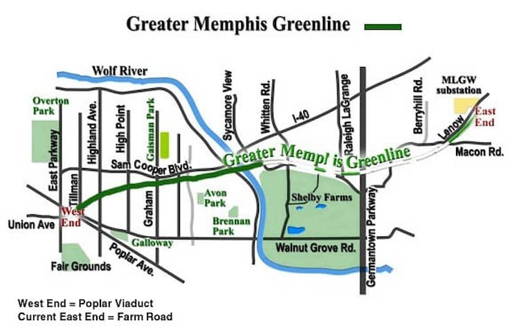 Greater Memphis Green Line bike and hiking trail.  There is an entry point about two blocks from the complex