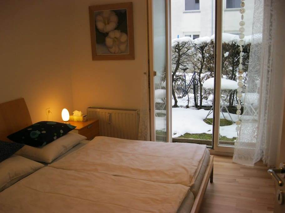 Guestroom in winter with king size bed (180x200 cm)