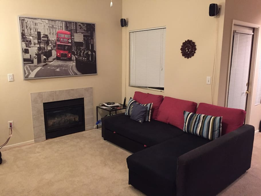Cozy gas fireplace makes winter blues disappear. Comfortable Ikea Fold out couch is available for additional guests.