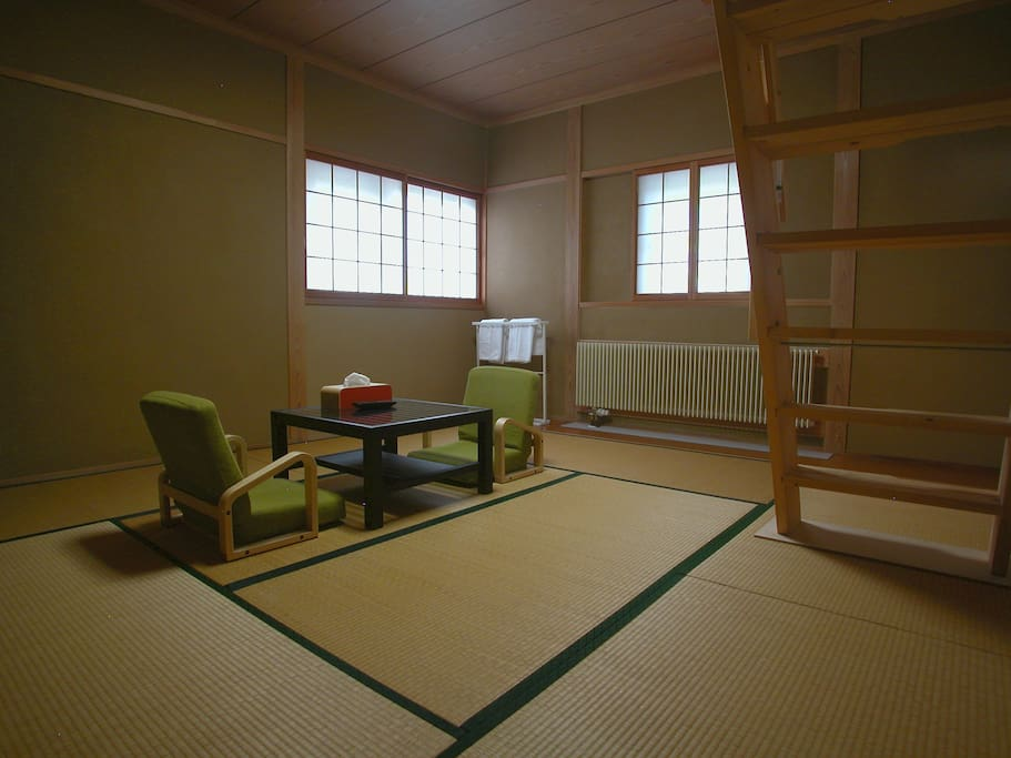 Guest rooms sitting area with traditional tatami floor
