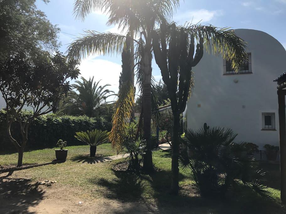 Vista del jardin y de la casa abovedada