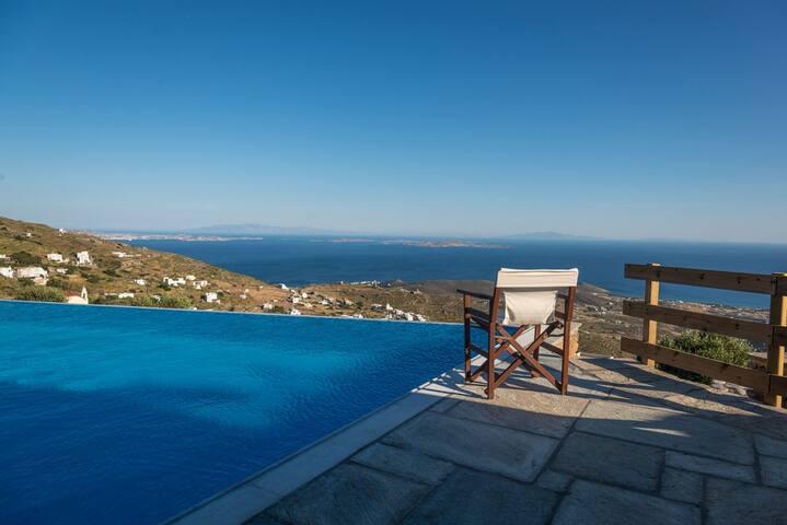Cyclades : Vue imprenable sur mer, piscine privée