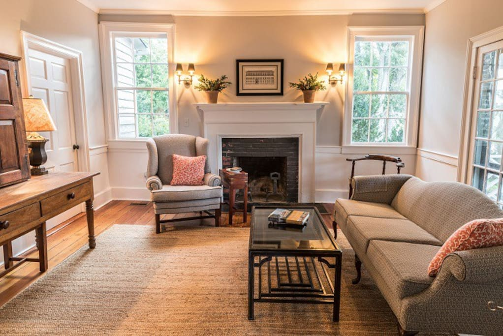 Inviting living room with original Federal mantel