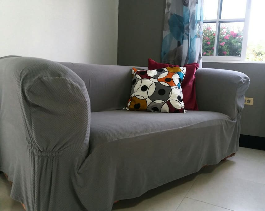 Plenty of couch space for your lounging pleasure so you can relax and enjoy the free Wi-Fi.