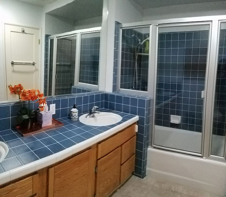 Private bath with double sink
