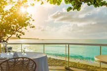 View of the Caribbean Sea from our bar and restaurant deck, moments before sunset.