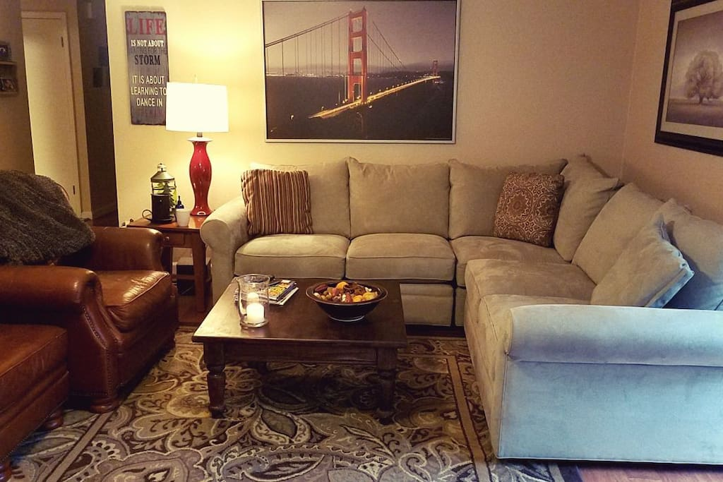 Comfy couch in living room.