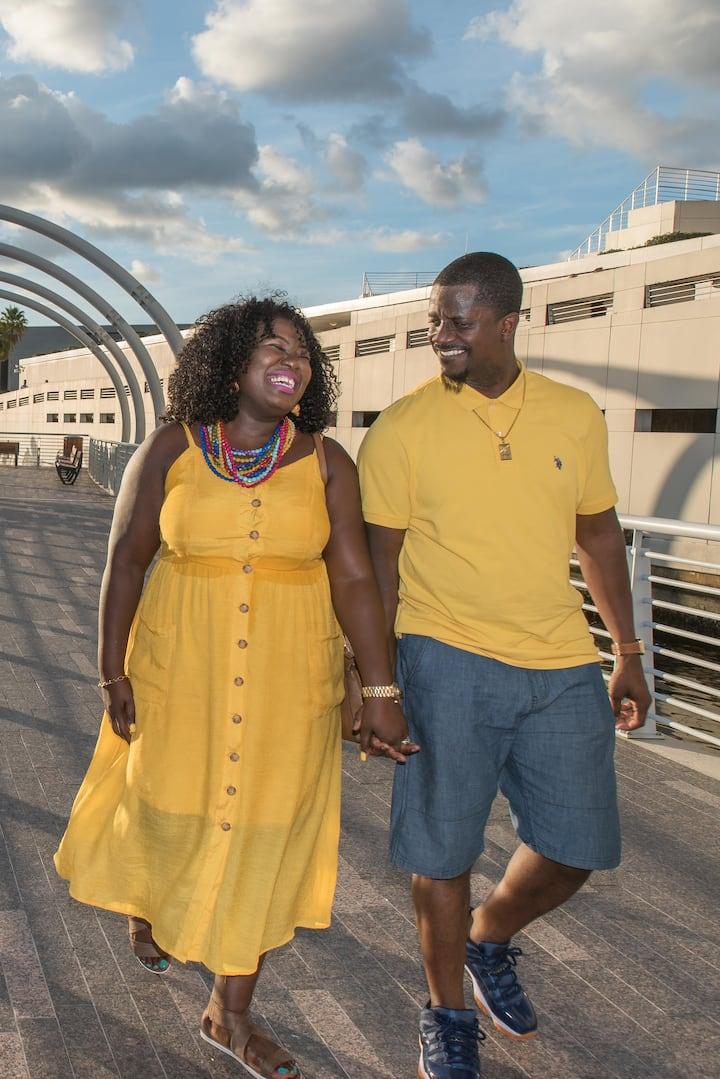 Enjoying a stroll on the Tampa Riverwalk