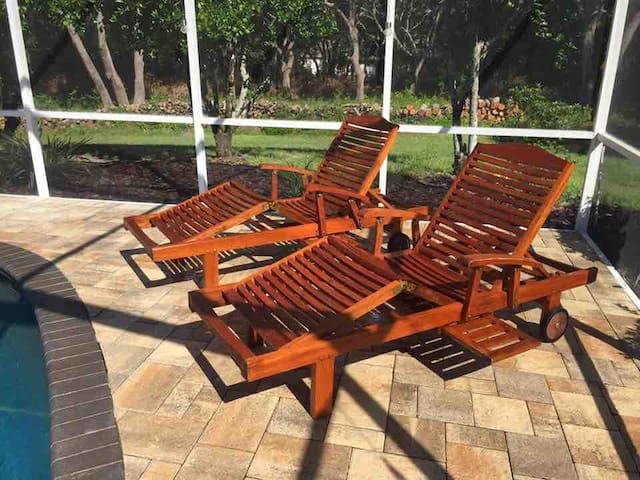 Teak Pool Lounges.