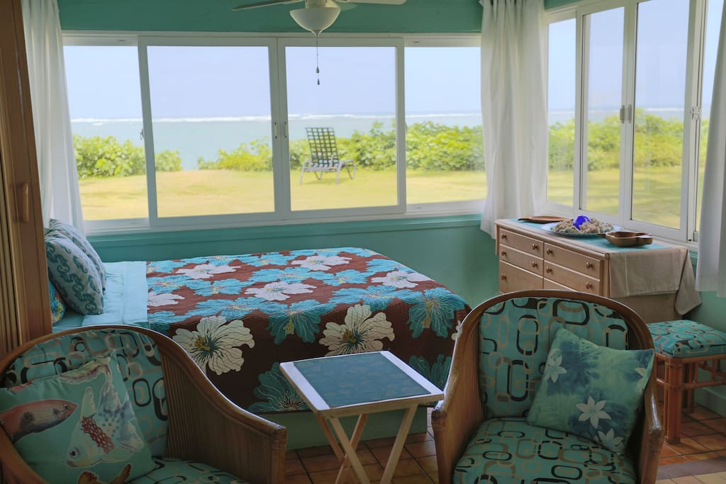 Main Bedroom, Queen Size Bed (Sleeps 2) with Dresser and Small Nightstand. (Overlooks Beach/Ocean)