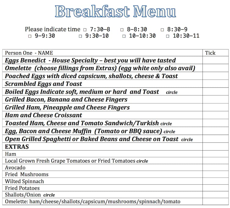 The menu for you to select your daily breakfast, Included in the price.