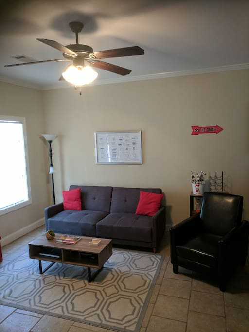 Living room with old out sofa