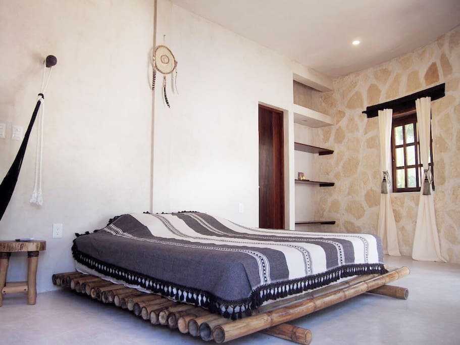 King size bed on a custom bamboo frame