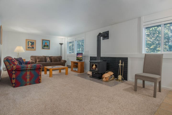 Living Room w/ Sofa Bed, TV and Wood Stove