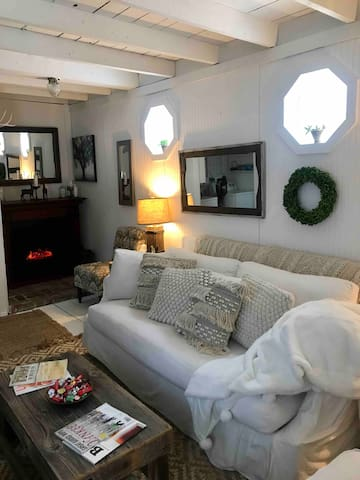Roomy Down sofa converts to twin bed