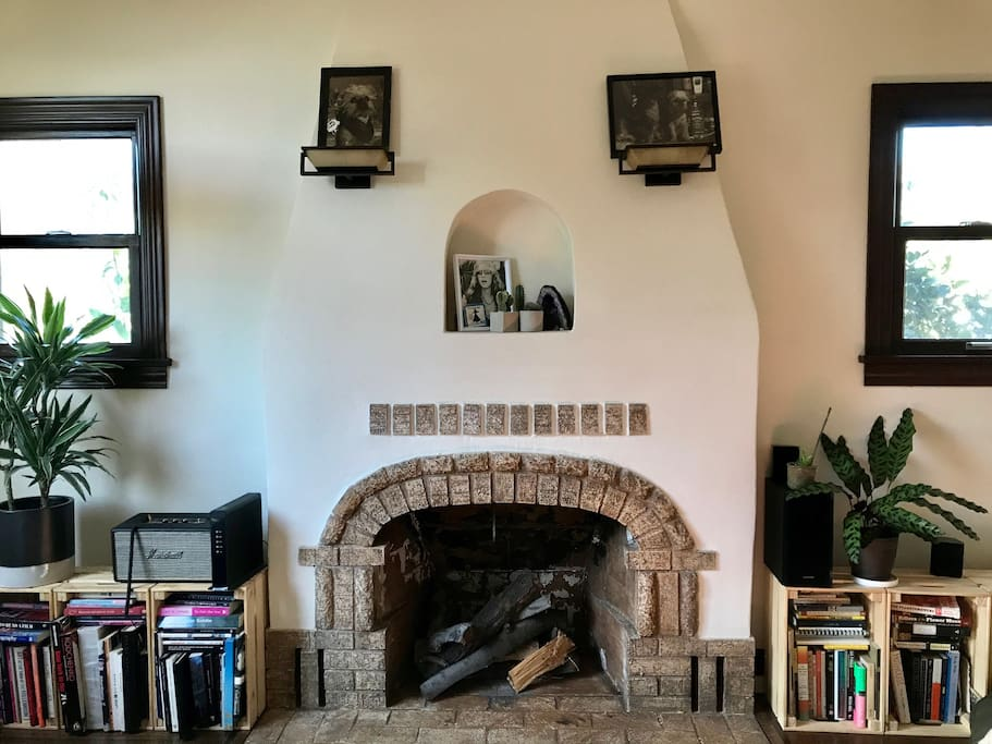 Fire place, Marshall Bluetooth speaker, Art books galore