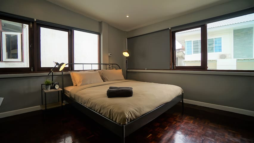 Bedroom 1 with King size bed: loft/industrious design and decoration