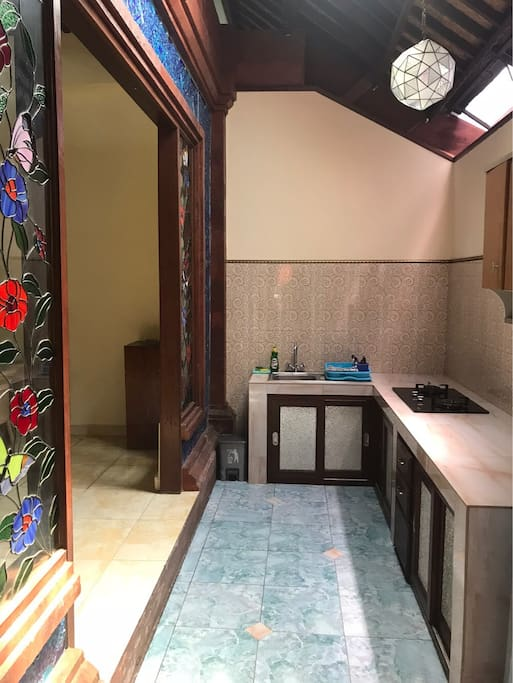 kitchen with nice lighting