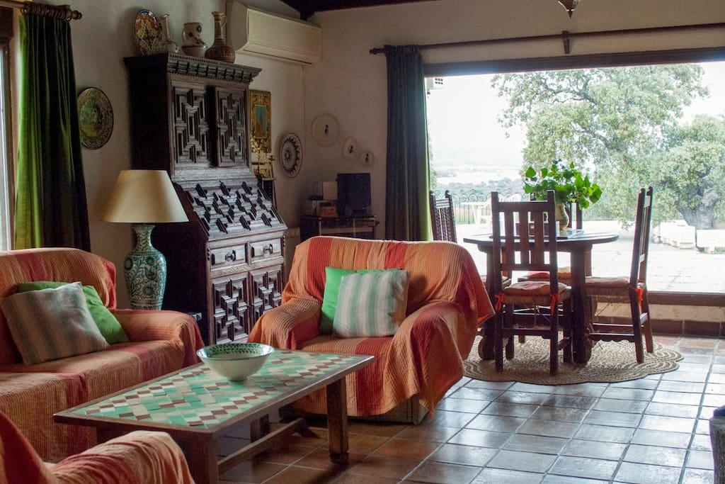 Detalle del salón. Todos los muebles de madera