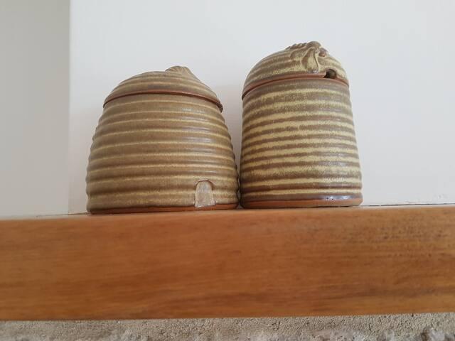 Studio pottery honeypots.