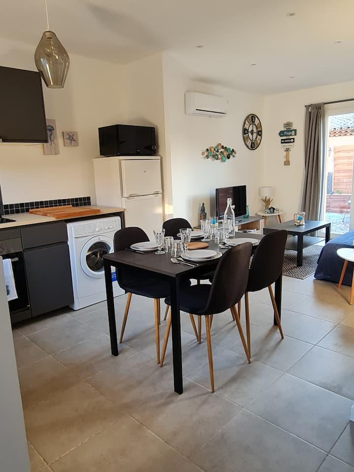 Appartement  rénové, climatisé, jardin privatif
