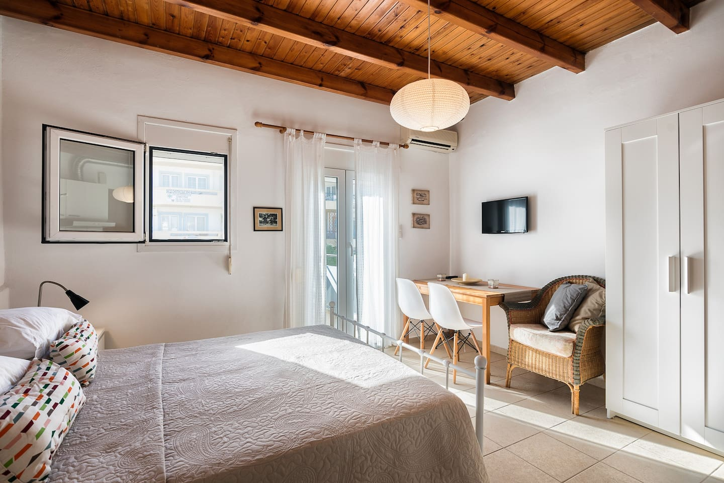 Interior of the apartment/Freshly Renovated/Double bedroom/Anatomic mattress/Led Tv/Table for food & laptop/Spacious wardrobe/Air-Condition/Relaxed Sofa/Wooden Nice Roof