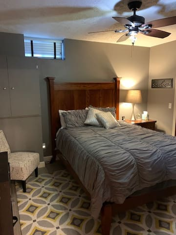 The private bedroom has a queen-sized bed.