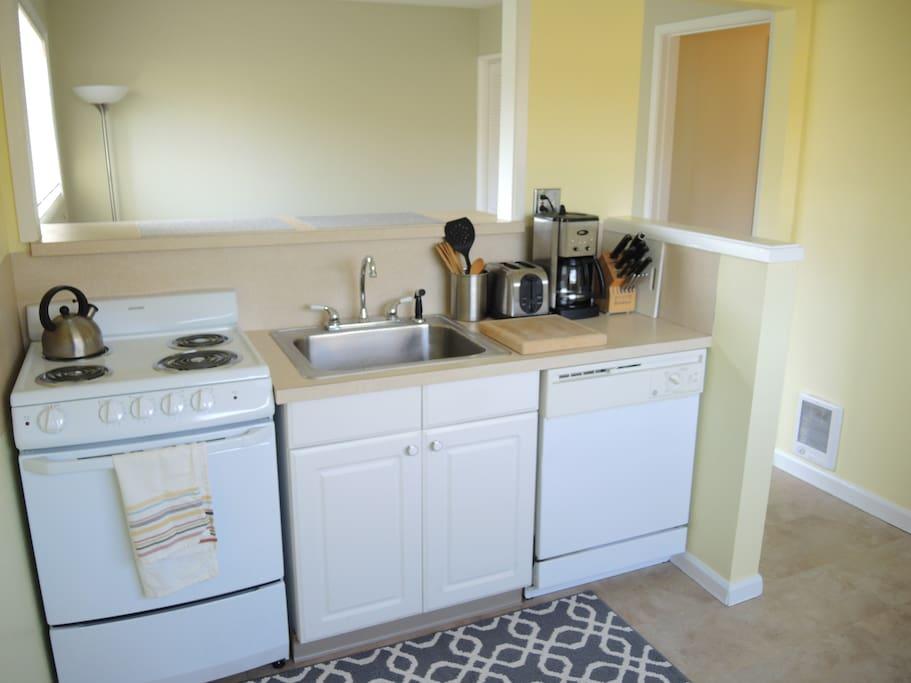 Fully-stocked kitchen.