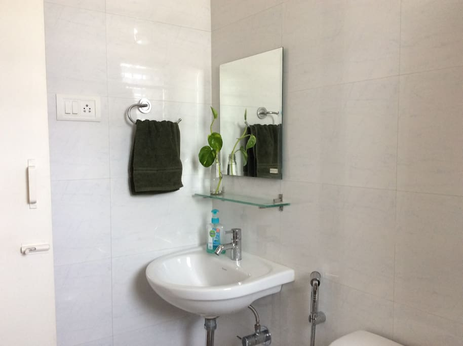 Bright and clean private bathroom