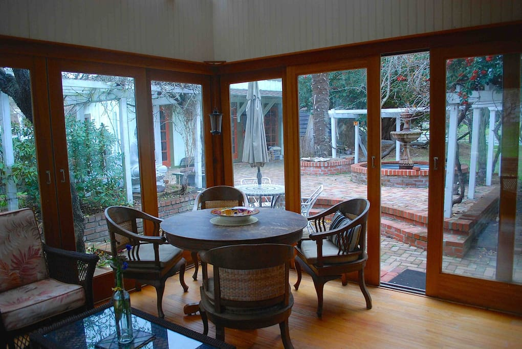 The solarium is the perfect place for morning coffee or tea