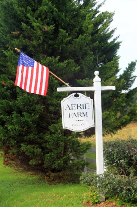 Aerie Farm roadside sign and constant flag