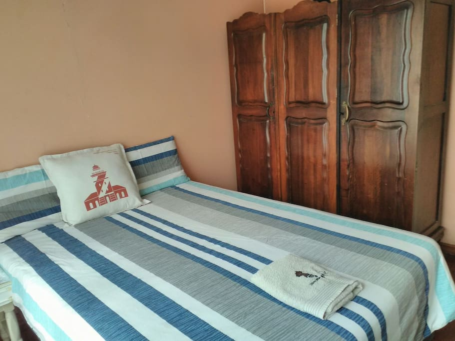 Comfortable Double bed with antique Wardrobe with lots space
