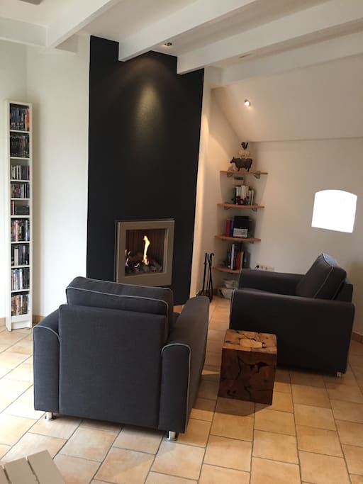 Cosy living room with fire place