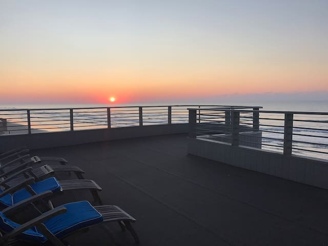 View of sunset from the deck off of the master suite.