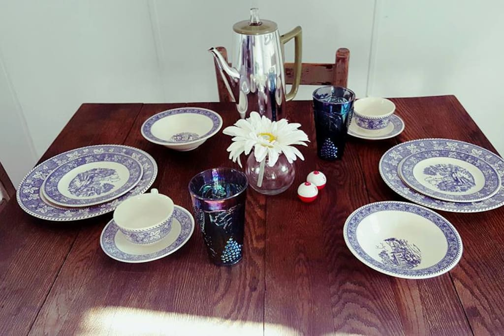 With lots of pretty cottage style things to make cooking and serving fun!