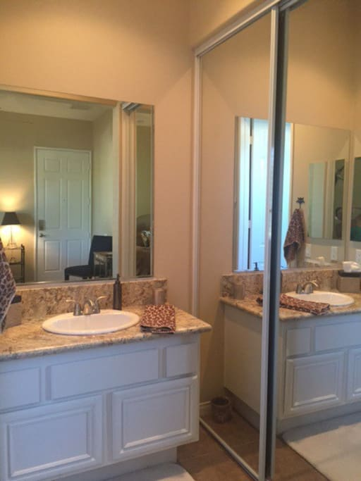 Vanity is open to the room. To the left is private the toilet and shower. A large closet is to the right.