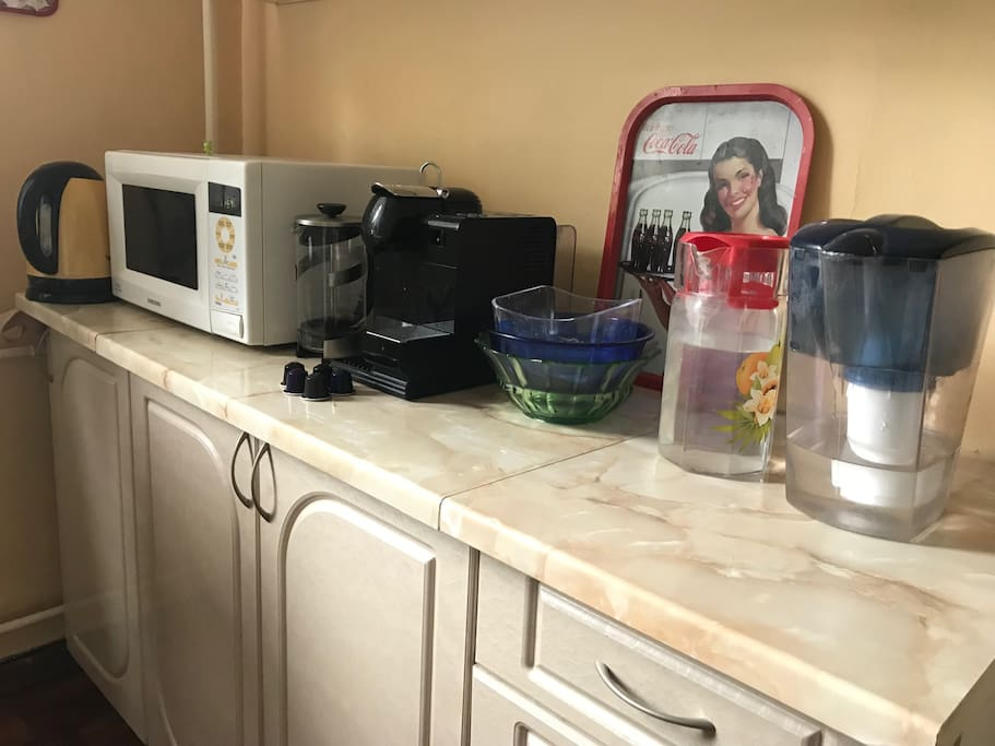Teapot, Microwave oven, Nespresso with  welcome capsules