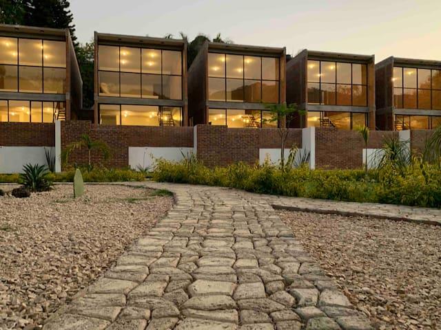 Las Orquideas A, casa, vista al Tepozteco