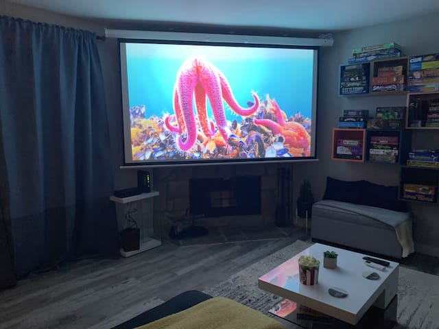 """110"""" movie theater. Netflix, cable and popcorn included."""