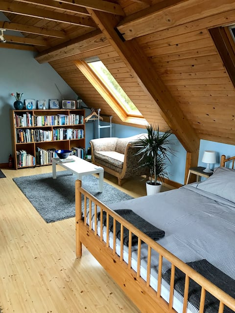 Private spacious scandi style loft flat with view.