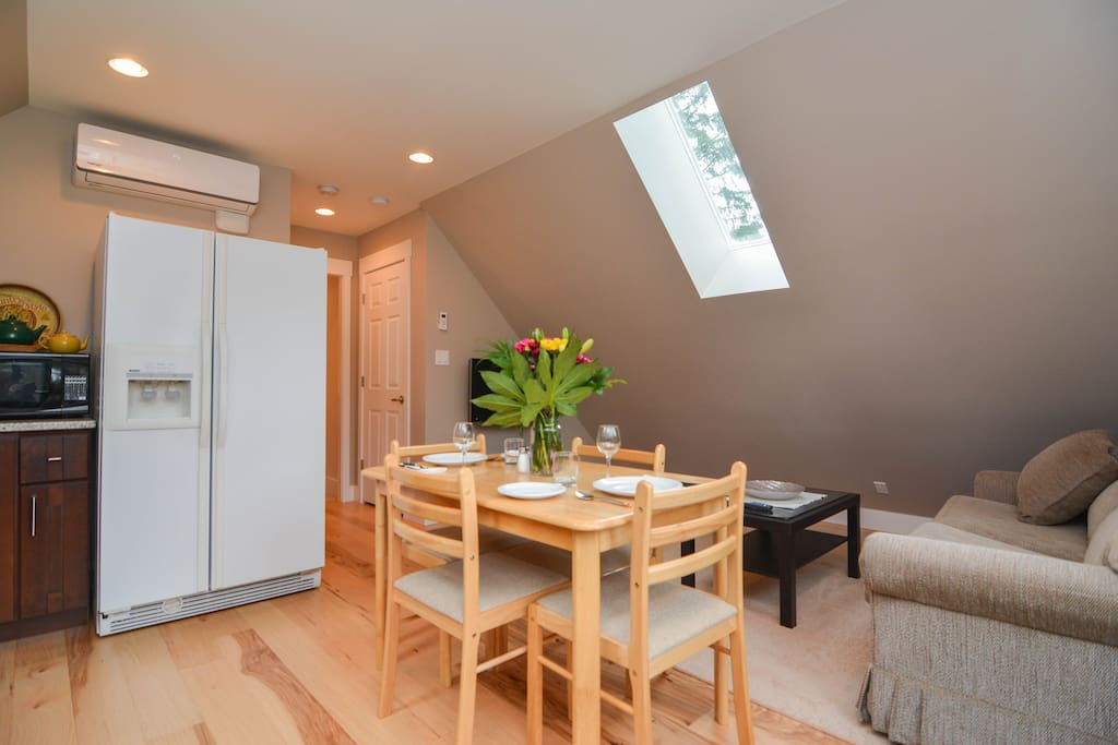 Skylights allow for lots of natural sunlight.