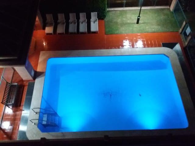 Pool and hot tub spa area