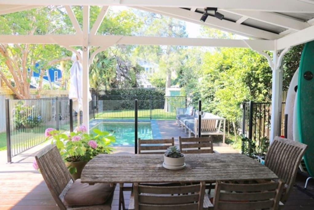Deck onto pool and backyard