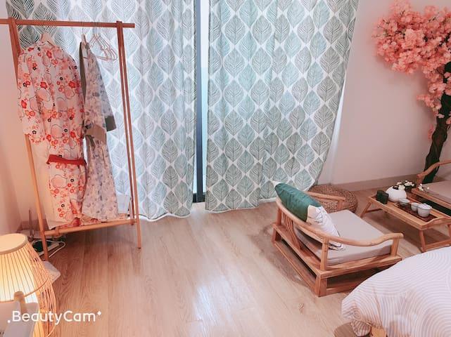 (房间已消毒)[日式新房]+樱缘*珠江新城地铁+西塔夜景+美领馆