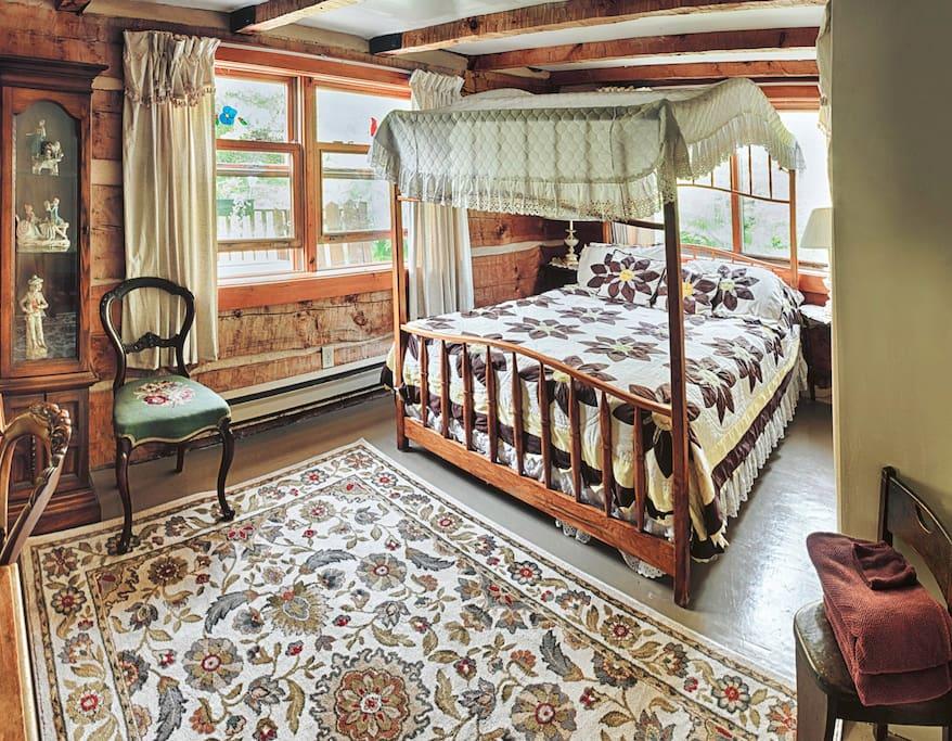 Handmade Cherry wood Canopy Bed