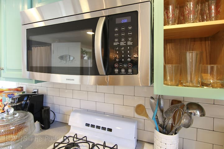 Microwave and glassware