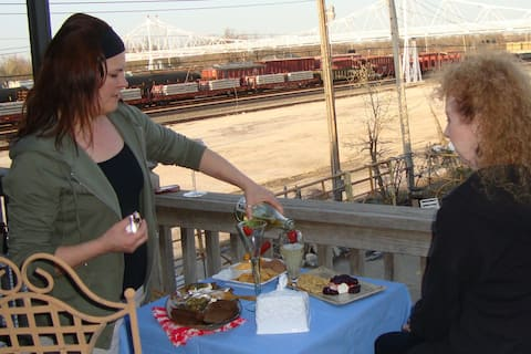 The view from the deck is amazing- the City Market, The Jefferson Avenue Footbridge, and trains!